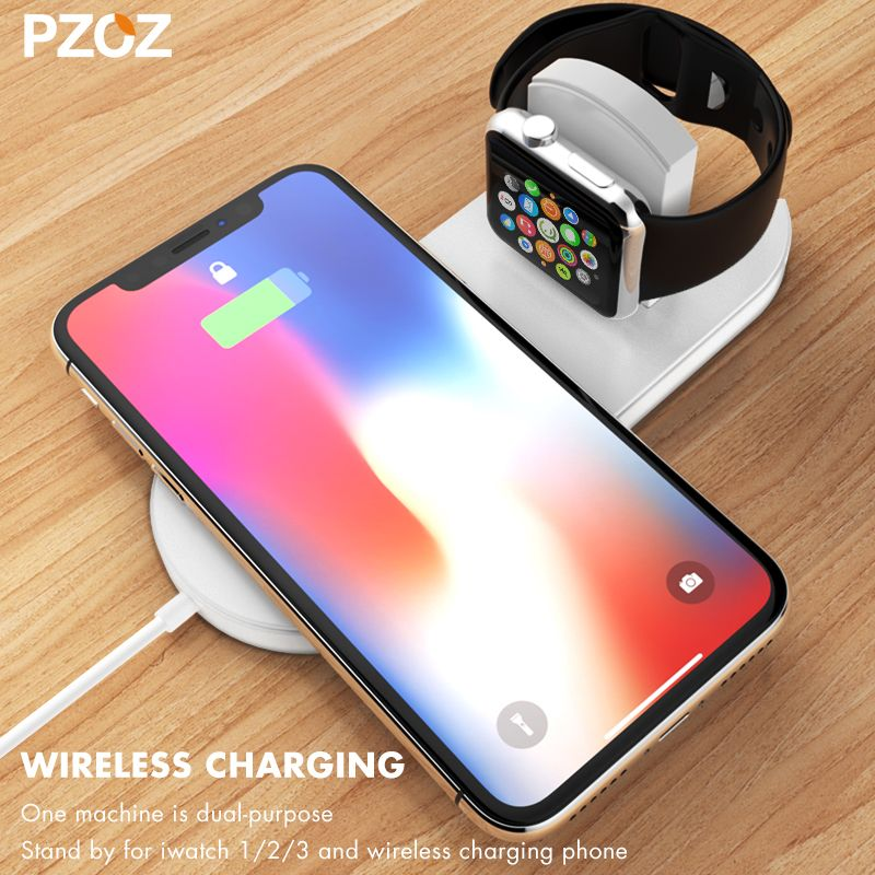 Pzoz Qi Wireless Charger Fast Charging For Apple Watch 3 iwatch iphone X 8 plus 2 In 1 Fast Wireless usb Pad Phone Adapter
