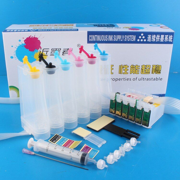 Universal 6Color Continuous Ink Supply System CISS Kit with Full Accessaries Ink Tank For EPSON 1400 1430 P50 Printer
