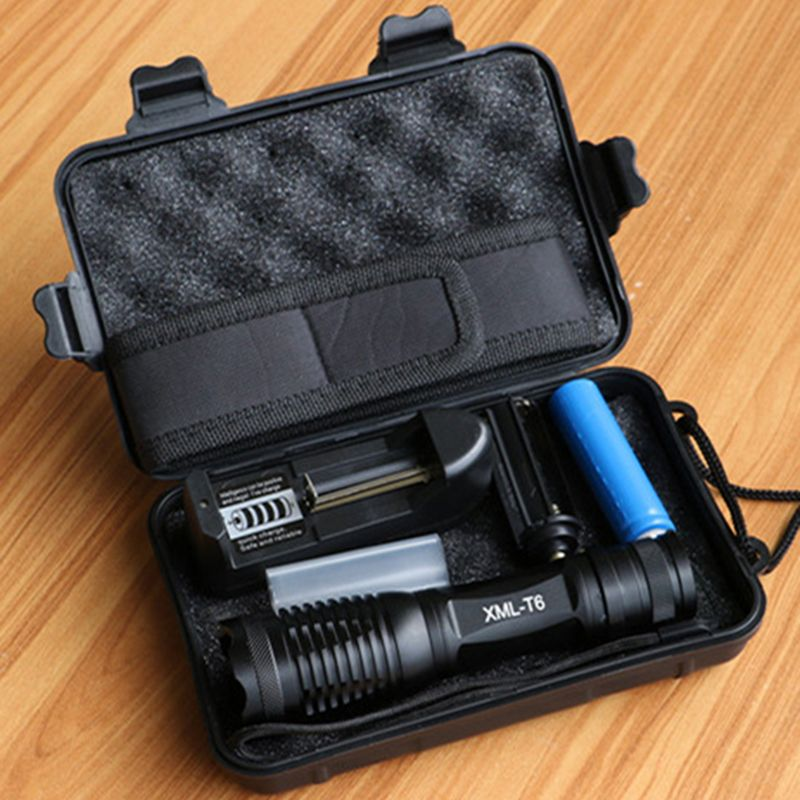 10000 Lumens LED Flashlight T6/L2/V6 <font><b>Tactical</b></font> Flashlights LED Torch Zoomable Flash Light+18650 Battery+Charger+Holster+Gift Box