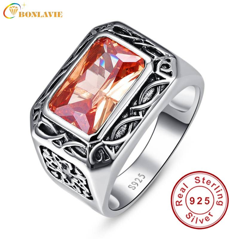 Vintage Men Silver Ring Jewelry 925 Sterling Silver Jewelry 6.75Ct Morganite <font><b>Antique</b></font> Square Rings For Men Anillos Bague Gifts
