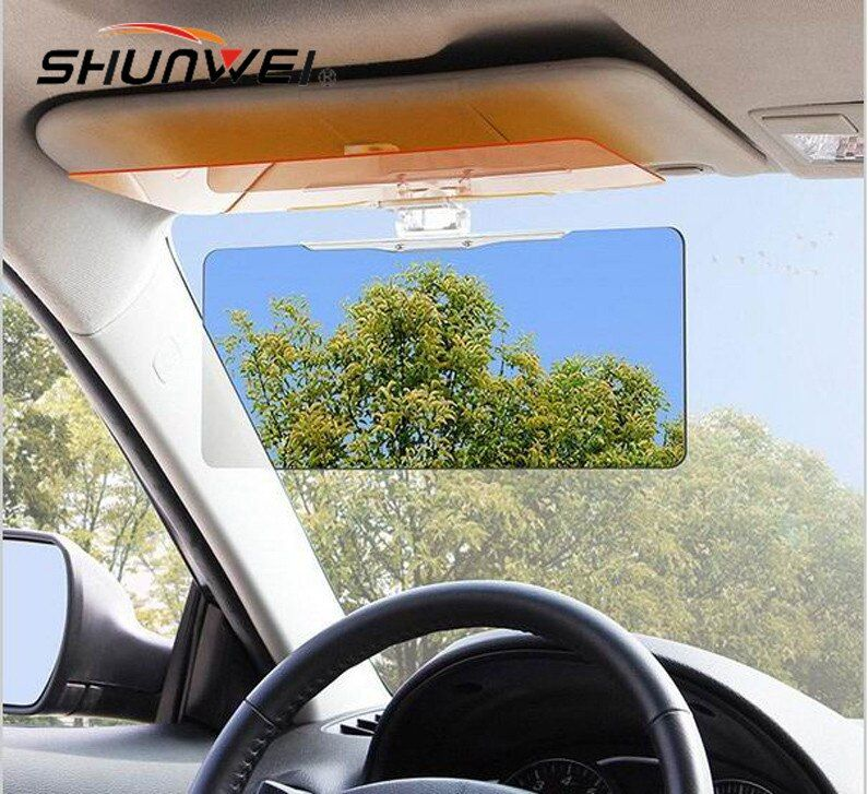 Car Anti Glare Goggles Mirror Car Sun Visor Sunscreen Shade Car Sunshade with Night Vision Goggles+Sunglasses