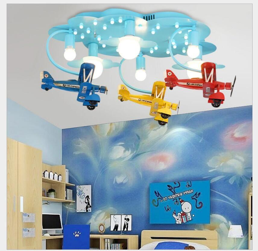 Neue Ankunft LED Kinder Lichter Kinder Decke Lampe Flugzeug Design Decora Schlafzimmer Licht E27 110 V 220 V Fernbedienung enthalten