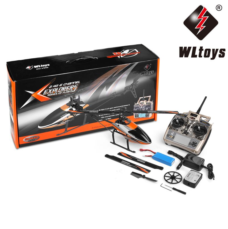 WLtoys V950 Motor 2.4G 6CH Compatibility 3D/6G Gyro System Single Blade Flybarless Brushless Motor RC Helicopter RTF Ourdoor Toy
