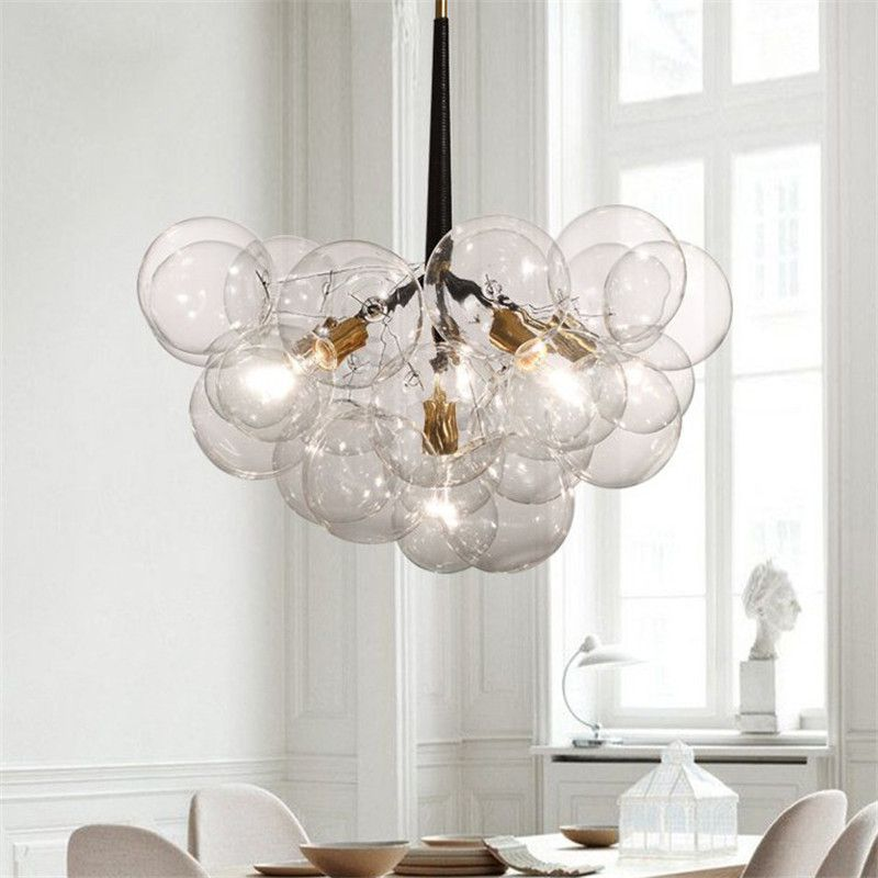 Modern Pendant Lights Bubble ball Pendant Lamp For Kitchen Dinning Room Globe Hanging Lamp luminaire Glass Light Fixtures