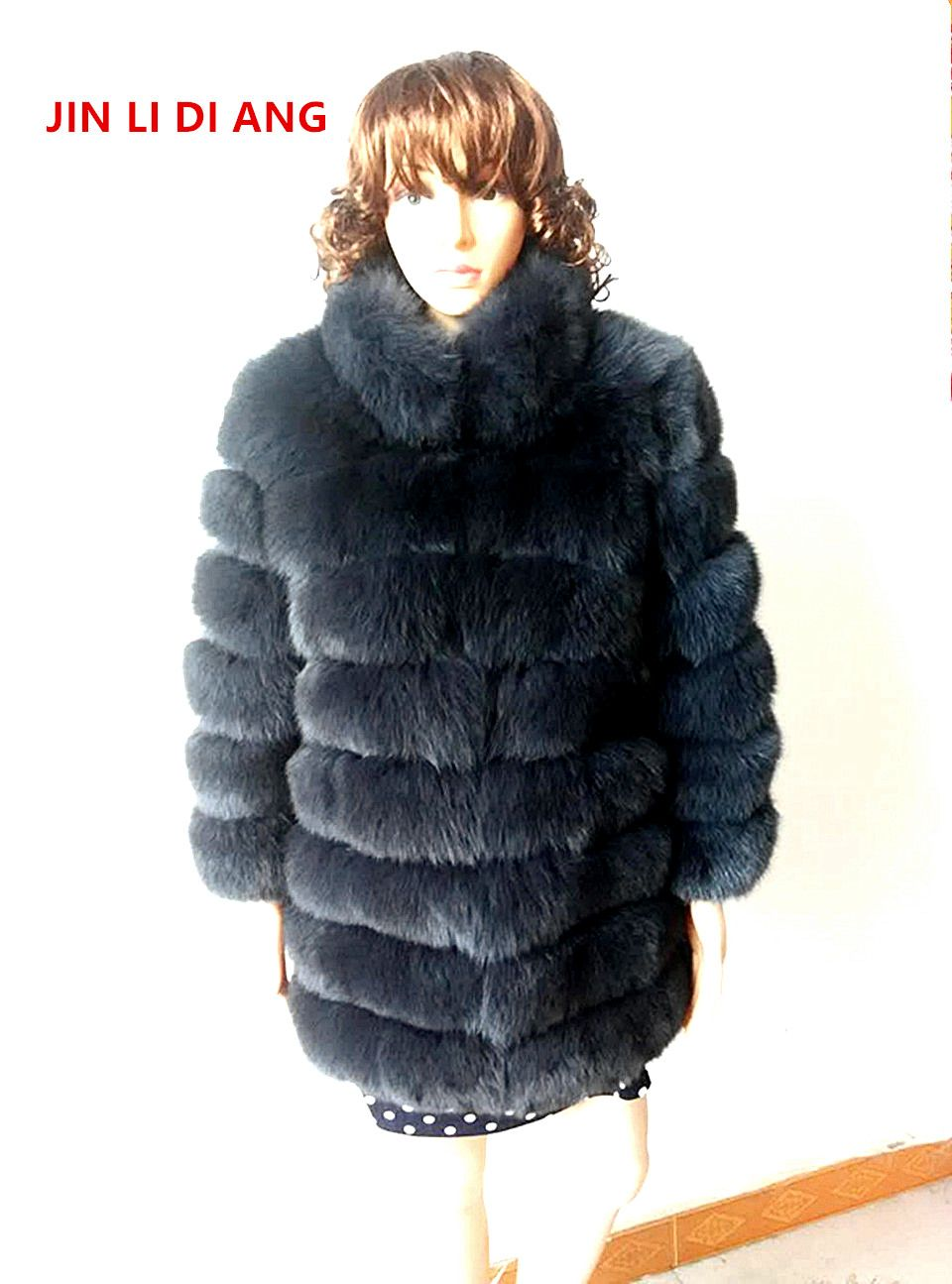 Jin Li Di Ang Women Natural Genuine Real Fox Fur Coats Winter Three Quarter Sleeve Outerwear Warm Thick Coats Vest with collar
