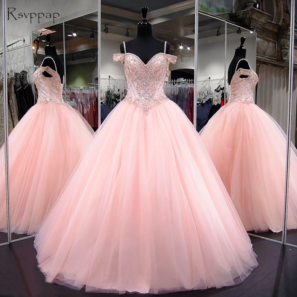 Lange Quinceanera Kleider 2018 Puffy Ballkleid Schatz Flügelärmeln Süße 16 Licht Rosa Perlen Quinceanera Kleid