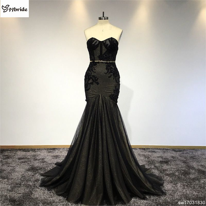 New arrived Actual Imange Ladies Alibaba Evening Sleeveless Dresses Black Lace Evening Gown Gold Sashes Fashion Prom Dress 2018