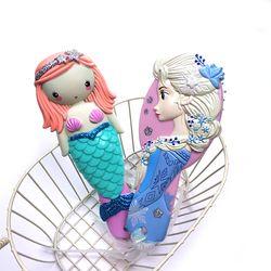 Disney Enfants Peigne 3D Princesse Congelés Brosses à Cheveux Soins Des Cheveux Bébé Fille Sirène Cheveux Peigne