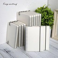 A5 A6 libro espiral cuaderno espiral hacer forrado punto cuadrícula en blanco papel diario Sketchbook para material escolar papelería