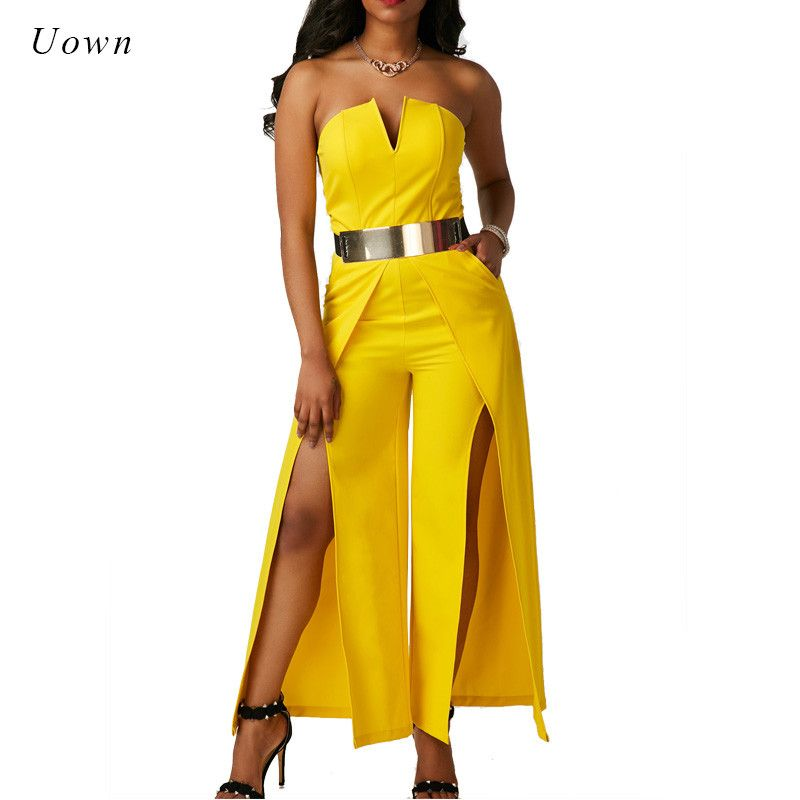 Elegant Evening Strapless Jumpsuit One Piece Long Pants Romper <font><b>Thigh</b></font> High Split Special Occasion Yellow White Wide Leg Jumpsuits