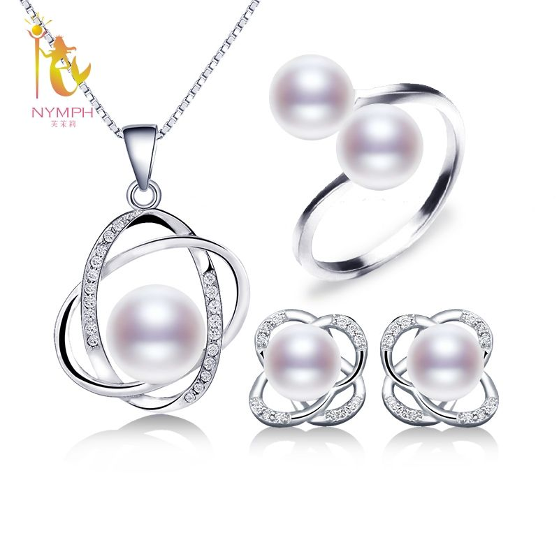 NYMPH Pearl Jewelry Sets For Women Natural Freshwater Pearl Earrings Rings Necklace Pendant New Trendy Wedding Gift Rose T303