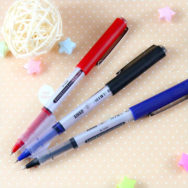 12 pcs/lot Classic Roller TIp Pen Wholesale 3 Color Gel Pens Liquid Ink Office Accessories School Supplies Canetas Escolar