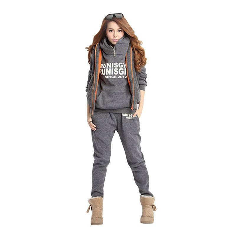 2017 New 3-Piece Set Women Suits Winter Sports Suit Hooded Fleece Thickened Sweatshirt Autumn Thick Sports Suits Gray