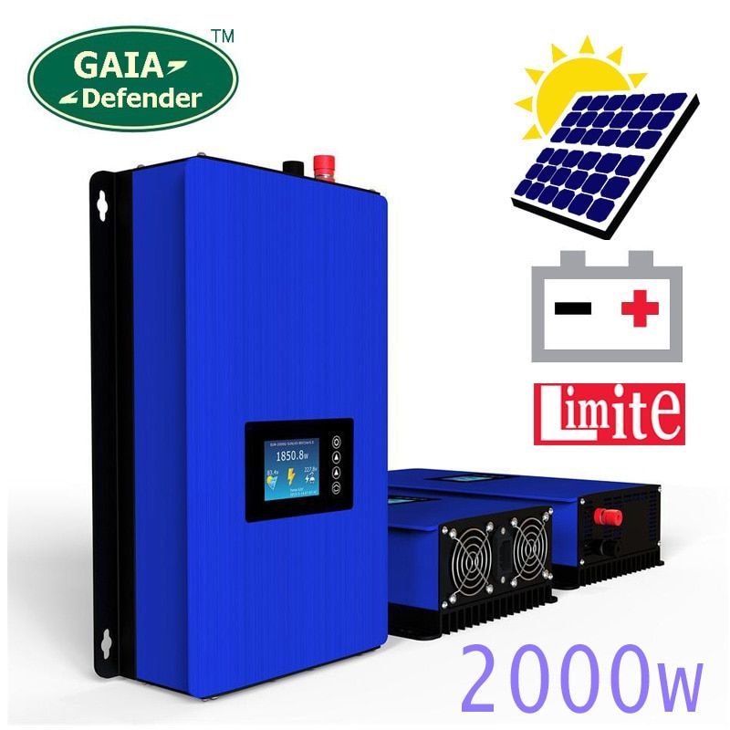 2000W Battery Discharge Power Mode/MPPT Solar Grid Tie Inverter with Limiter Sensor DC 45-90V AC 220V 230V 240V PV connected