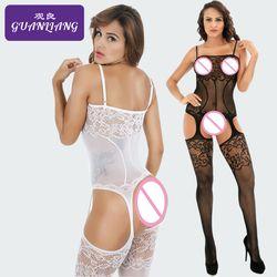 Сексуальное нижнее белье, кружевное чулок, Сетчатое боди, открытая промежность, прозрачные сетчатые колготки, Эротическая подвязка сиамски...