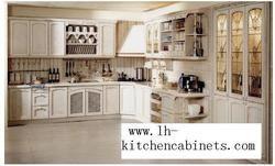 Сельский твердого дерева горизонтальные кухонных шкафов (LH-SW046)