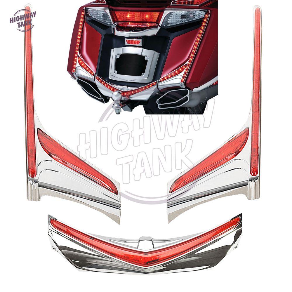 LED Motorcycle Rear Light Vertical Strip Fender Brake Taillight Turn Signal Case for Honda Goldwing GL1800 F6B 2012-2016