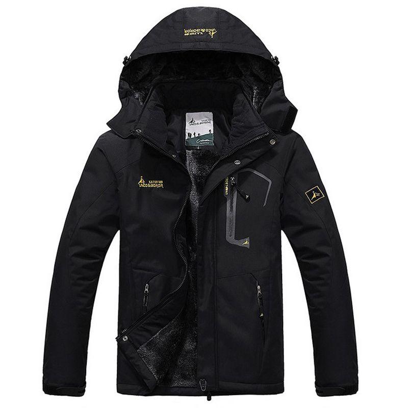 Зимняя куртка Для мужчин толстый бархат пальто Термальность теплый ветрозащитный капюшон Куртки Для мужчин S верхняя одежда; парка Homme jaqueta ...