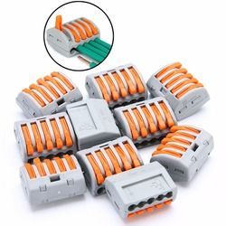 10pcs PCT-215 5 Way Reusable Spring Lever Terminal Block Electric Cable Wire Connectors 32A