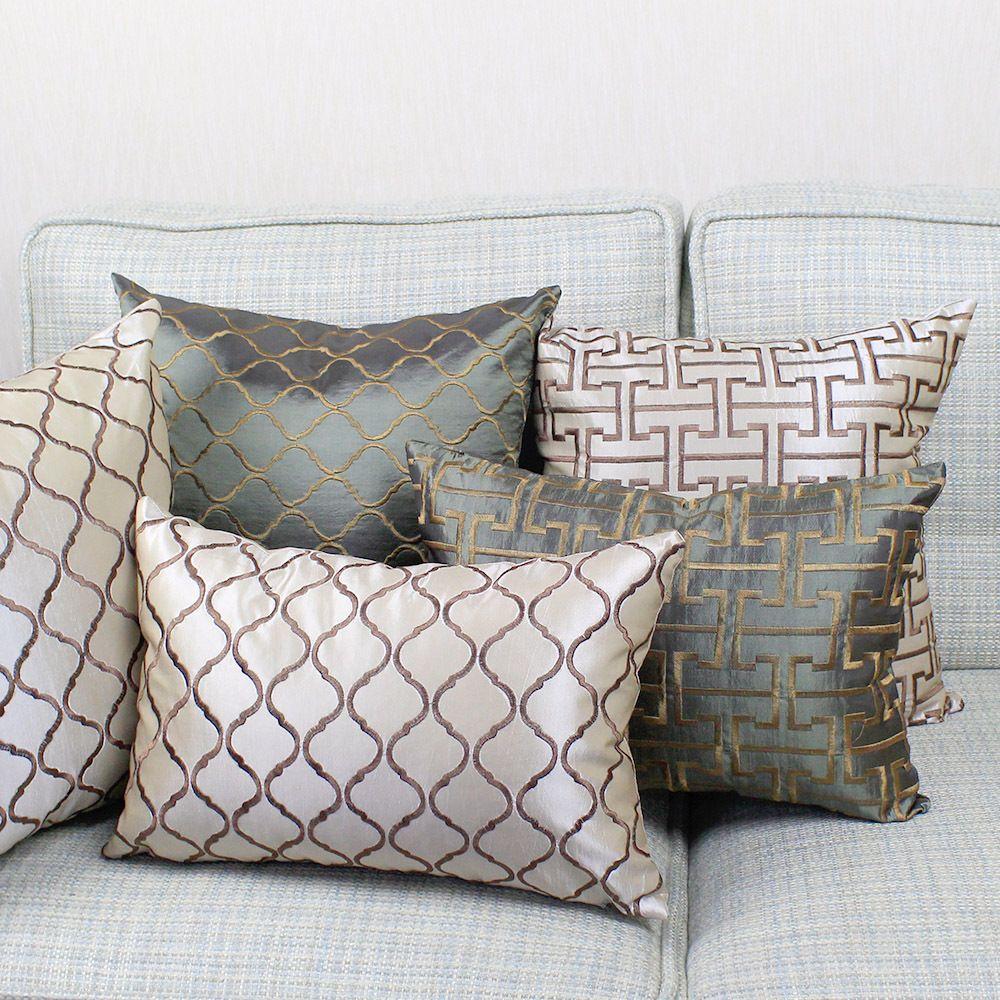 Housse de coussin de canapé brodée géométrique 40x40/45x45/50x50/55x55/60x60/65x65/70x70 cm taie d'oreiller décorative