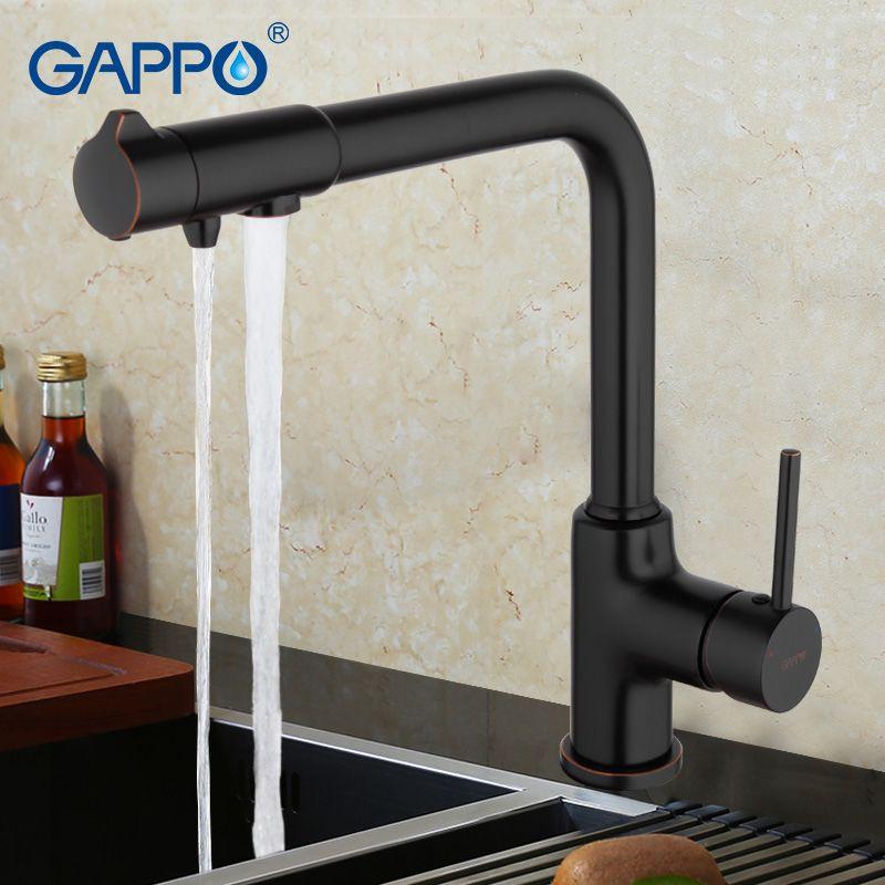 GAPPO antique black Brass Kitchen Faucet with Water Purifier sink tap 360 Degree Swivel Single Handle torneira cozinha G4390-10