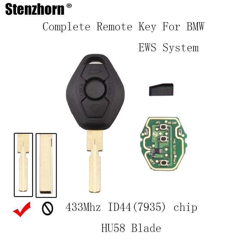 Stenzhorn 433Mhz Remote Key DIY For Bmw EWS 1/3/5/7 Series X3 X5 Z3 Z4 Keyless Entry ID44 Chip HU58 Blade For BMW EWS System