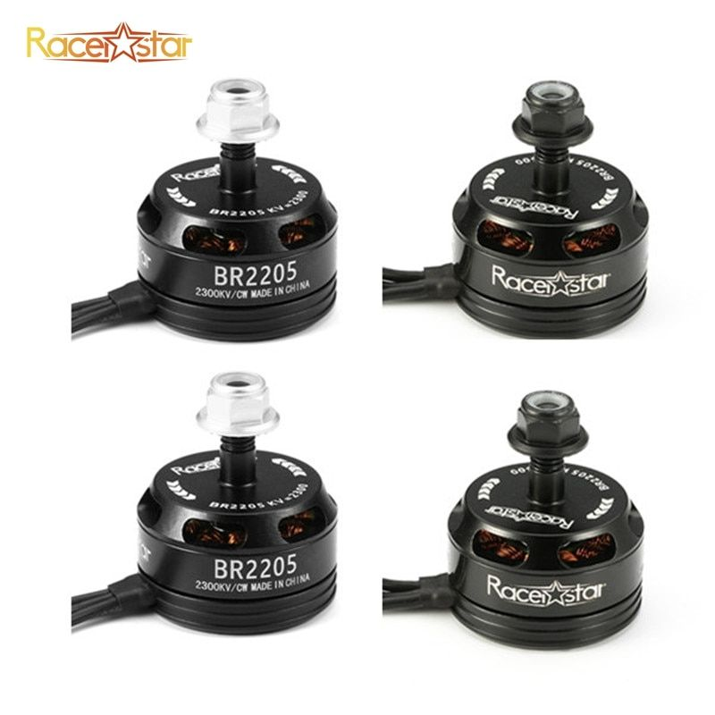 4pcs 4x Racerstar Racing Edition 2205 BR2205 2300KV 2-4S Brushless Motor Black For 210 X220 250 280 RC Racing Drone Quadcopter