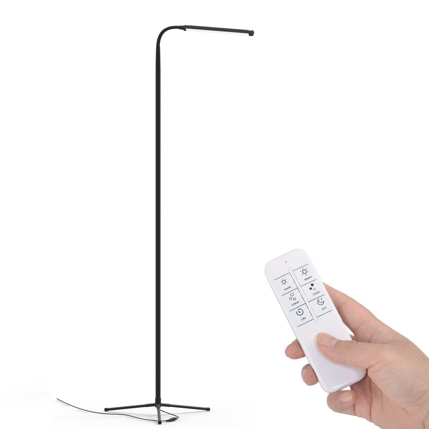 F9 Modern Touch LED Standing Floor Lamp Reading for Living Room Bedroom with Remote Control 12 Levels Dimmable 3000-6000K Black