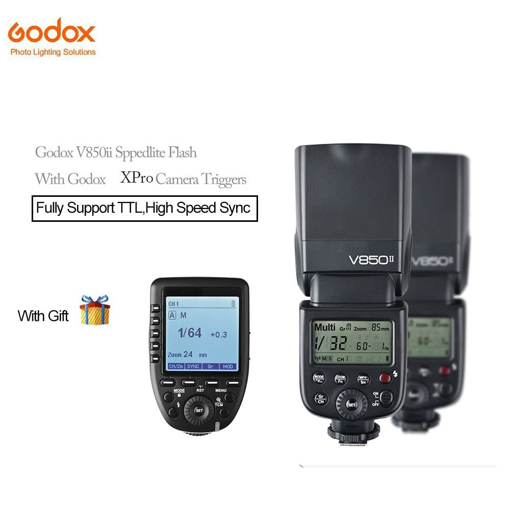 Godox V850II GN60 2.4G HSS Camera Speedlite Flash with 2000mAh Li-ion Battery+Xpro-c/n/s/f Cameras Triggers For Photographic