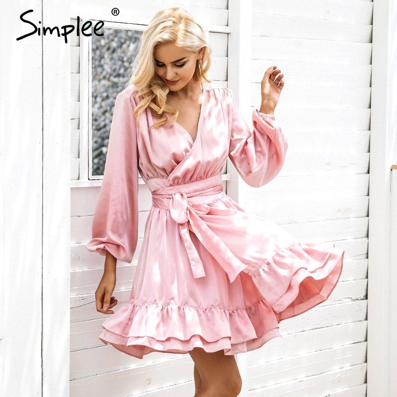 Simplee Satin deep v neck ruffle wrap dress Women bow belt <font><b>lantern</b></font> sleeve pink sexy dress robe Autumn winter short dress vestido