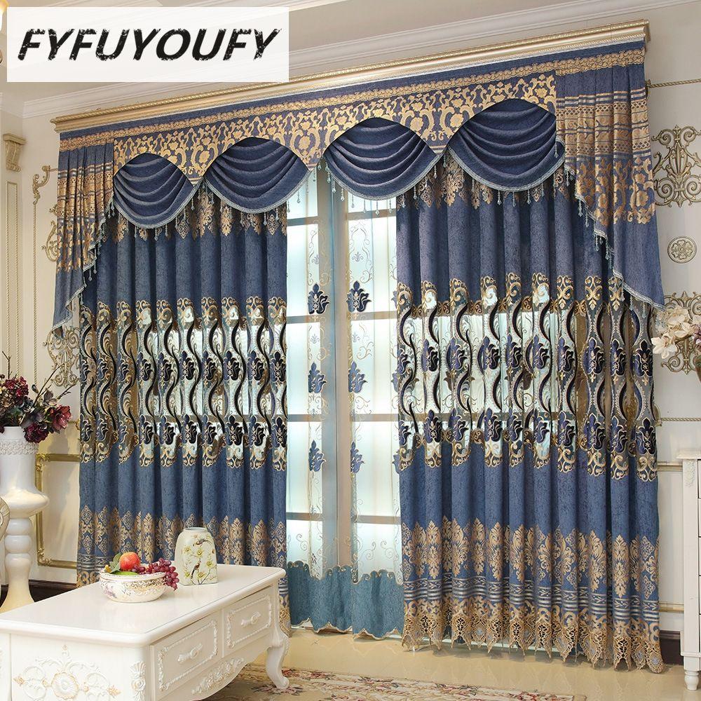 FYFUYOUFY rideaux brodés haut de gamme de luxe européen pour salon rideaux classiques de haute qualité pour fenêtres de chambre