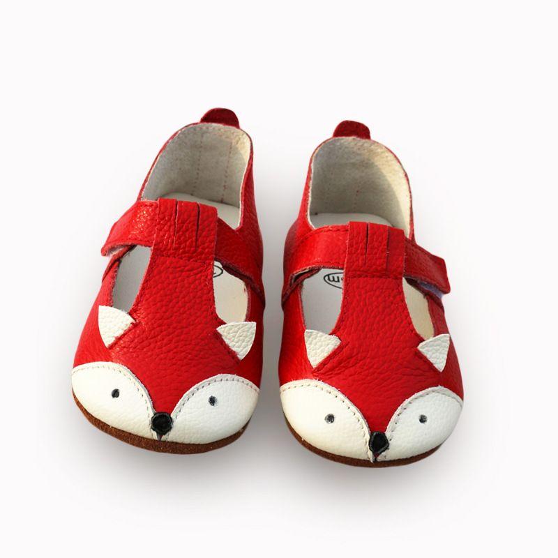 Cartoon Fox bebé Sandalias flores Zapatos de bebé Cuero auténtico inferior antideslizante bebé mocasines Niñas Sandalias envío libre