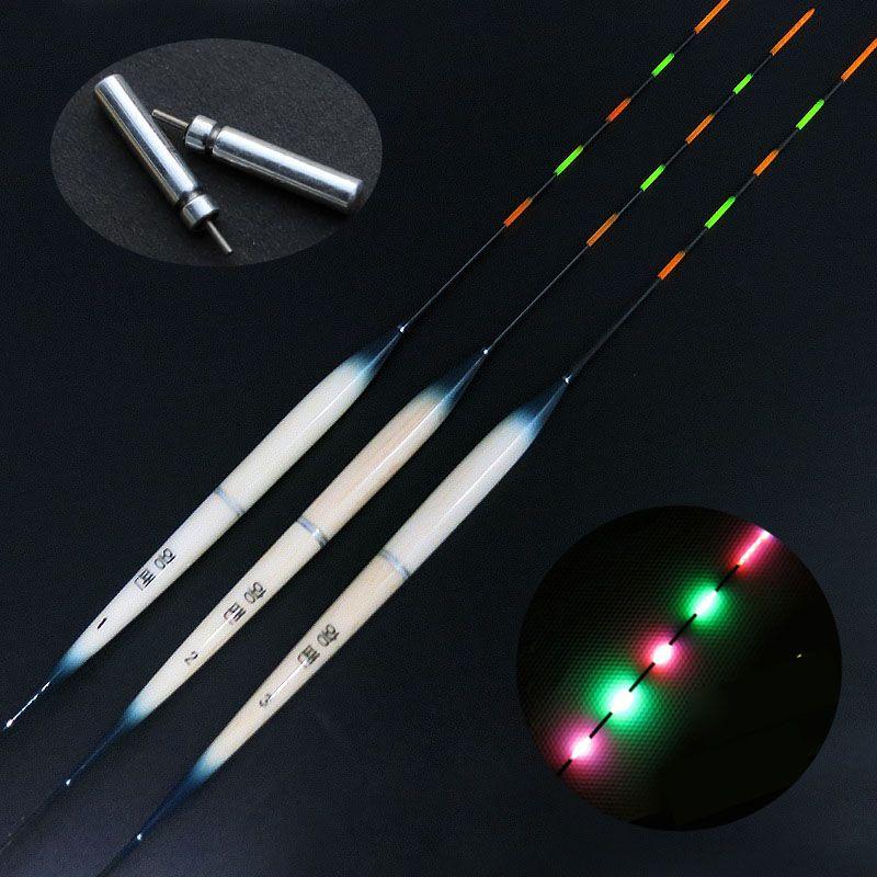 JSFUN 10pcs/lot Luminous Fishing Float 1#2#3# With 10pcs CR425 Battery 5 full Eletronic Bobber Drift Night Vision FF32