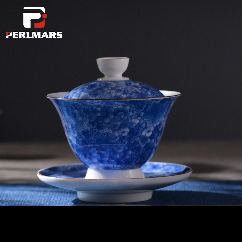 150ml Jingdezhen Hand Painted Blue and White Porcelain Tureen with Lid Saucer Kit Gaiwan Teaware Kung Fu Tea Set Tea Ceremony