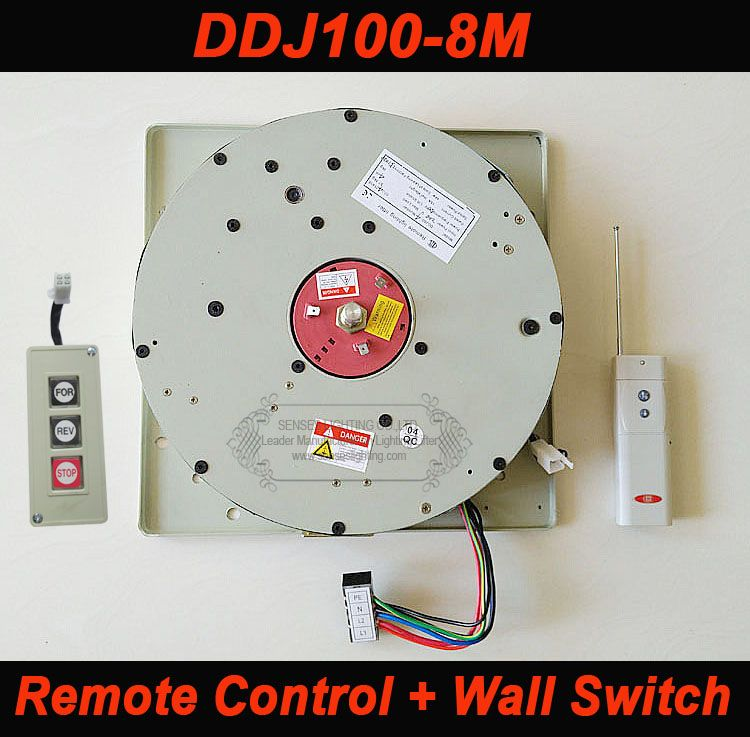 100KG 8M Wall Switch+Remote Control Chandelier Hoist Lighting Lifter Electric Winch Lamp Lifting System 110V,120V,220V,230V,240V