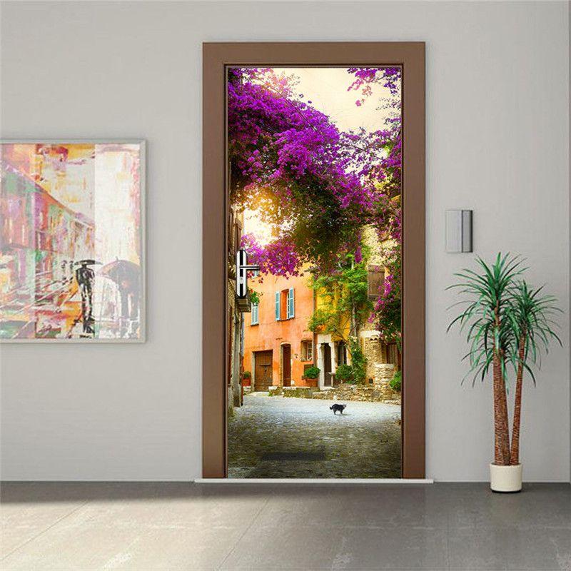 Garden House Imitation 3D Door Sticker Home Decoration Waterproof Poster Adesivo De Parede Creative Stickers Muraux