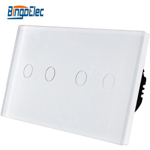 Européenne 4 gang panneau de verre tactile interrupteur de lumière, AC110-250V Vente Chaude