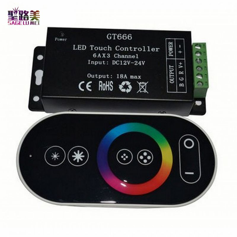 wholesale DC12-24V 6Ax3channel 18A RF Wireless Touch RGB controller GT666 Touch Panel led dimmer for led strip light <font><b>tape</b></font>