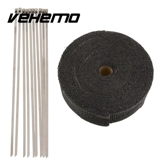 Fiberglass Heat Exhaust Thermo Header Pipe Turbo Downpipe Wrap Shield Protection Tape 2