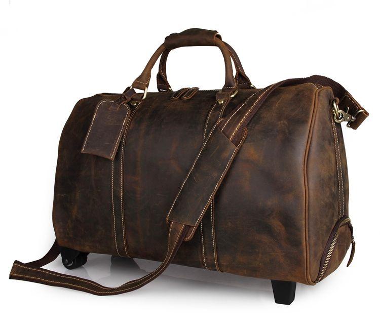 J.M.D livraison gratuite à la main en cuir de cheval fou fourre-tout Unique bagages roue voyage Trolley sacs 7077LR