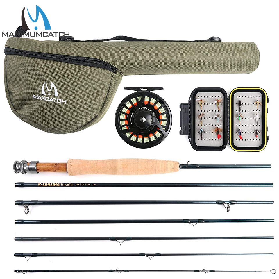 Maximumcatch Traveler Fly Fishing Rod Combo Graphite IM10/30T+36T Carbon Fiber Fly Rod with Fly Reel Kit 9FT 6/7/8WT 7Sec