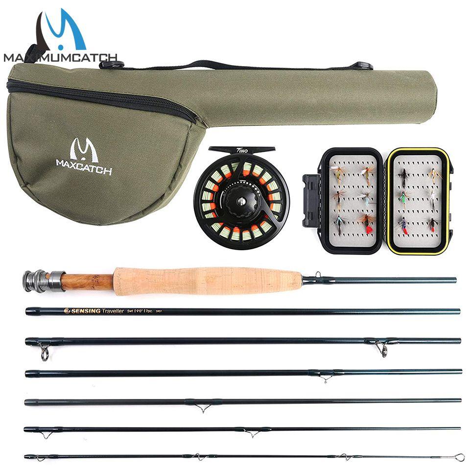 Maximumcatch Traveler Fly Fishing Rod Combo Graphite IM10/30T+36T Carbon Fiber Fly Rod with Fly Reel Kit 9FT 6/7/8WT 7Sec