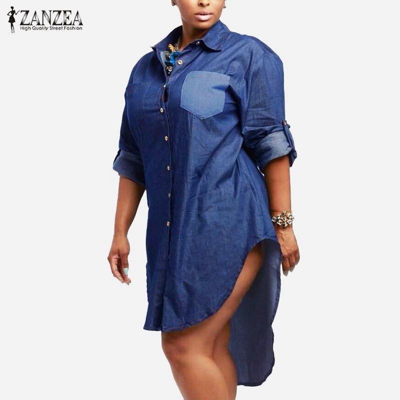 Robe oversize 2018 Printemps Automne ZANZEA Femme Denim Vintage Revers Manches Longues Ourlet Irrégulier Jeans Chemisier Chemise Grande Taille