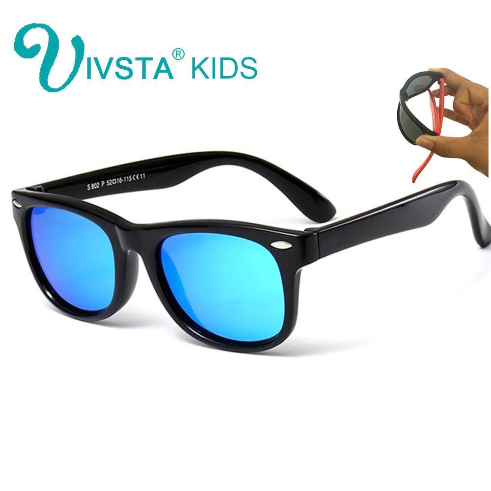 IVSTA lunettes de soleil enfants polarisées filles TR90 lunettes miroir bleu revêtement caoutchouc garçons lunettes de soleil enfants Silicone incassable 802