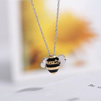 925 Sterling Silver Jewelry Wholesale Korean Fashion Cute Bee Exquisite Creative Female Personality Pendant Necklace   H274