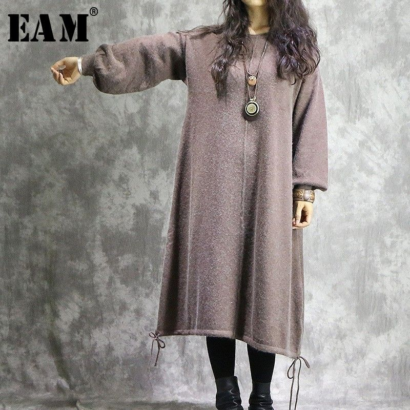 [EAM] High Quality 2018 Autumn Winter Solid Color Loose Casual O-neck Big Size Spliced Fashion New Women's Wild Dress LA970