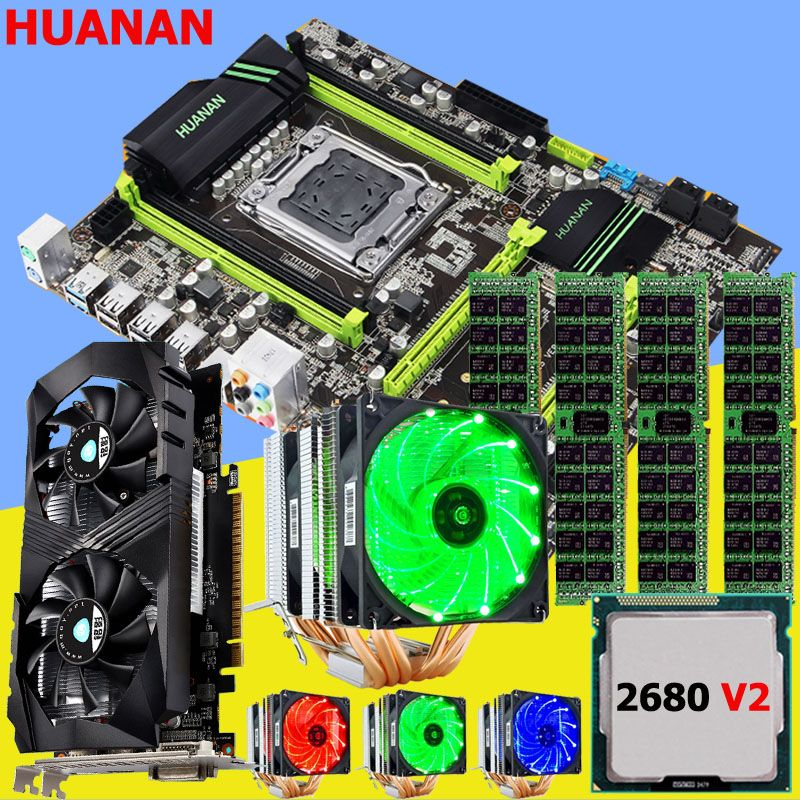 Discount M.2 mobo HUANAN ZHI X79 motherboard with CPU Intel Xeon E5 2680 V2 with cooler RAM 16G REG ECC video card GTX1050Ti 4G