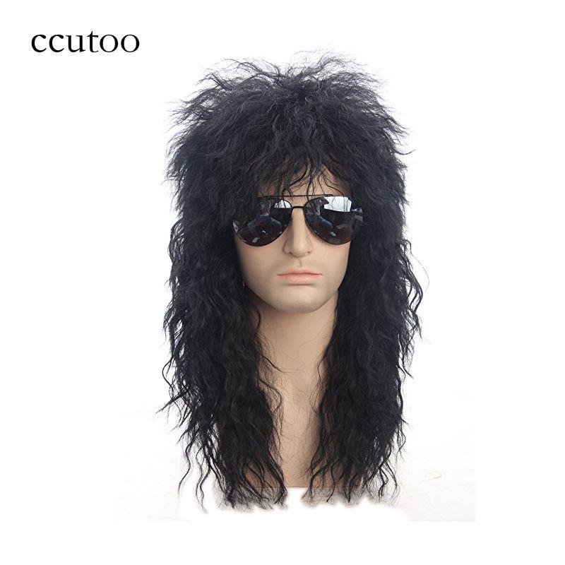 Ccutoo 70 s 80 s Halloween Costumes à bascule mec noir bouclé synthétique cheveux perruques Punk métal Rocker Disco mulet Cosplay perruque seulement