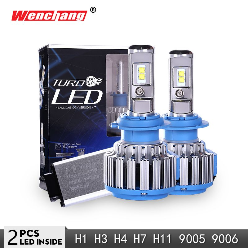 WENCHANG T1 LED Car Headlight Bulb Turbo LED H4 H7 H1 H3 H11 9005 9006 Auto Headlight Bulb Hi/Lo Beam 6000K 12V SMD Chip 3000LM