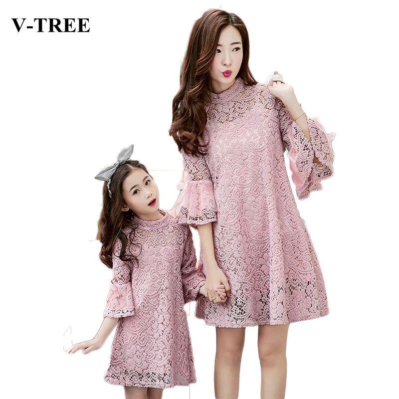 V-TREE Кружева мать дочь платья рог рукавом соответствия мать дочь платье одежда мода семья посмотрите наряды